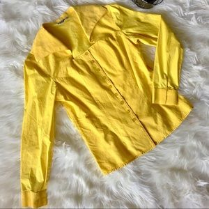 💛 Unique Yellow Angled Collar Button-Up